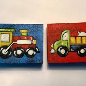 GUC Two Canvas Wall Art ,Truck & Train Picture's